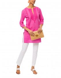 Tangier Ibis Pink Embroidered Cotton Kurta Top