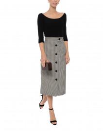 White and Black Plaid Checked Midi Skirt