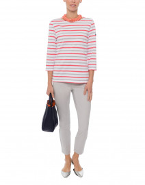Galathee White, Coral and Grey Striped Cotton Shirt