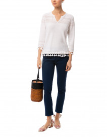 White Marled Linen Cotton Sweater