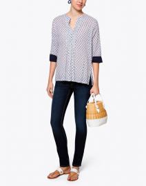 Arles White and Navy Bloom Cotton Shirt