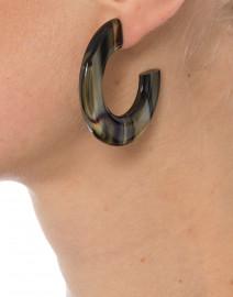 Gia Gold and Brown Resin Hoop Earrings