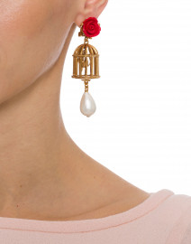 Red Rose and Gold Birdcage Drop Clip Earring