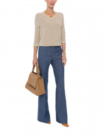 Kate Blue Stretch Denim Wide Leg Pant