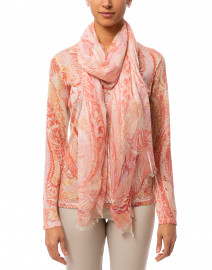 Coral and Pink Paisley Silk Cashmere Scarf