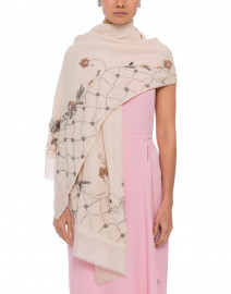 Pink Floral Embroidered Cashmere Silk Scarf