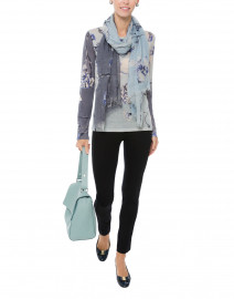 Grey, Blue and White Floral Cashmere Silk Sweater