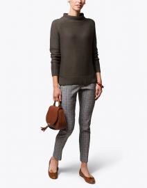 Olive Green Garter Stitch Cotton Sweater
