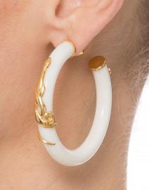 White Resin Gold Cobra Hoop Earrings