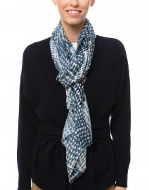 Blue Geo Printed Silk Cashmere Scarf