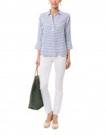 Aileen Indigo and White Striped Button Back Linen Shirt