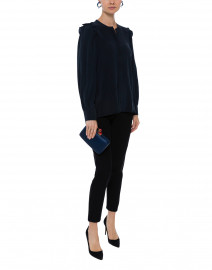 Bingo Navy Silk Crepe Button Down Shirt