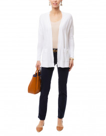 White Garter Stitch Cotton Cardigan