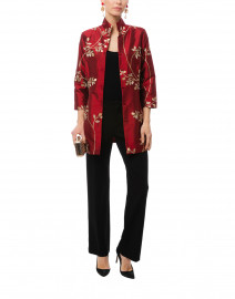 Rita Ruby and Gold Leaf Embroidered Silk Top