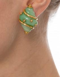 Jade Seashell Clip Earrings