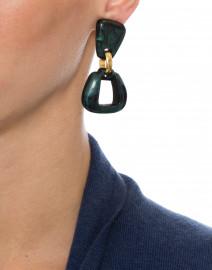 Zya Petrole Sage Resin Drop Clip Earrings