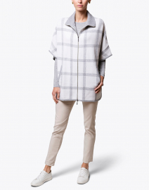 Ivory and Grey Plaid Cashmere Poncho