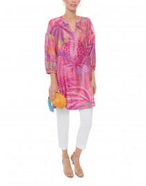 Pink Palm Tree Printed Silk Tunic