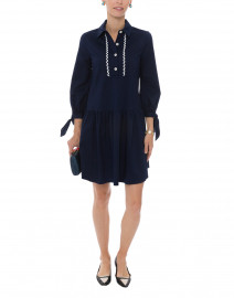 Leni Navy Stretch Poplin Dress