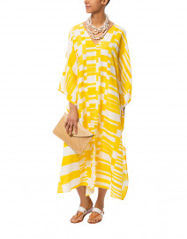 Carolina Yellow and White Printed Silk Linen Kaftan Dress