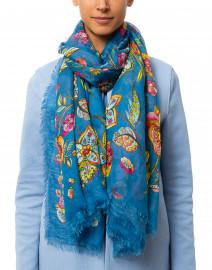 Blue Multi Floral Printed Scarf