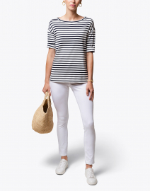 Navy and White Striped Stretch Cotton Shirt