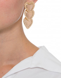 Gold Repousee Heart Drop Earrings