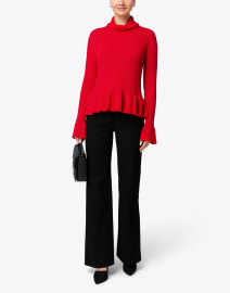 Red Turtleneck Peplum Sweater