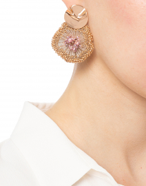 Milly Pink Crystal Flower Beaded Earrings