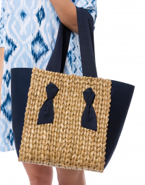 Petite Isla Bahia Navy Mixed Media Woven Tote
