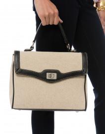 Lauren Black Leather and Linen Bag