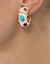 White Enamel Multicolored Hoop Clip Earrings
