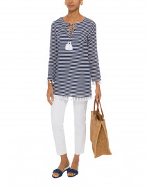 Navy and White Striped Tunic Top