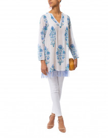 Corin Ziva White and Blue Floral Cotton Tunic