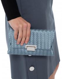 Katrina Blue Woven Silk Clutch