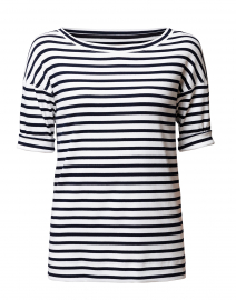 ff2c1622375 ... look Marc Cain Sports Navy and White Striped Stretch Cotton Shirt $200  More colors available ...