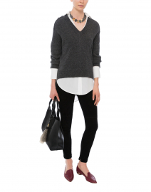 Dark Charcoal Sweater with White Underlayer