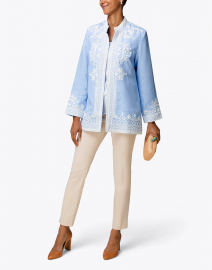 Ceci Light Blue Embroidered Linen Coat