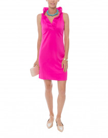 Pink Ruffle Neck Dress