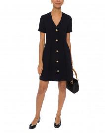 Navy Gold Button Front Dress