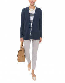 Twilight Navy Micro Cable Knit Cashmere Cardigan