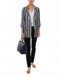 Clover Navy and Ecru Vertical Striped Jacket