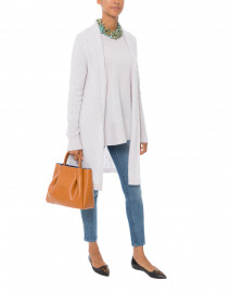 Sophie Light Grey Cable Knit Cashmere Cardigan