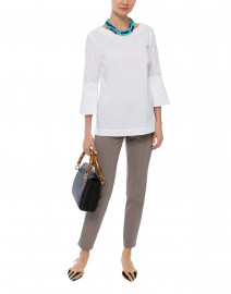 Lutetia White Stretch Cotton Blouse