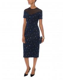 Diveria Navy Star Brocade Dress