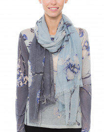 Blue and White Floral Silk Cashmere Scarf