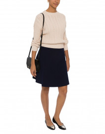 Navy Fit and Flare Skirt