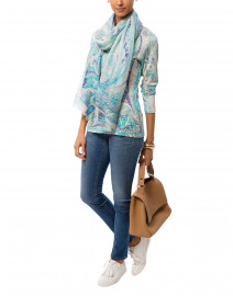 Turquoise and Purple Paisley Cashmere Silk Sweater