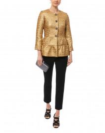 Gold Metallic Jacquard Peplum Jacket