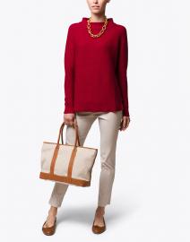 Red Garter Stitch Cotton Sweater